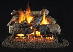 Vented RealFyre Gas Fireplace Burners, Valves and Ceramic Logs.