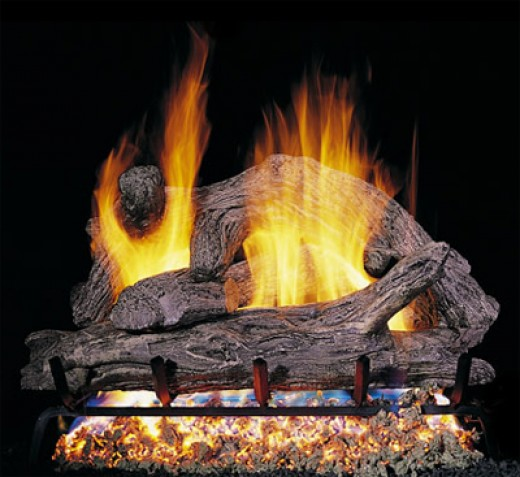 driftwood gas fireplace with g45 fireplace burner. - Vented RealFyre Gas Fireplace Burners, Valves And Ceramic Logs