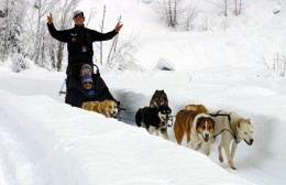 Whistler Dogsledding guide Bob Fawcett and guests