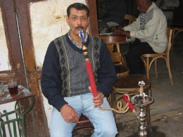 Another hooka smoker in a street cafe
