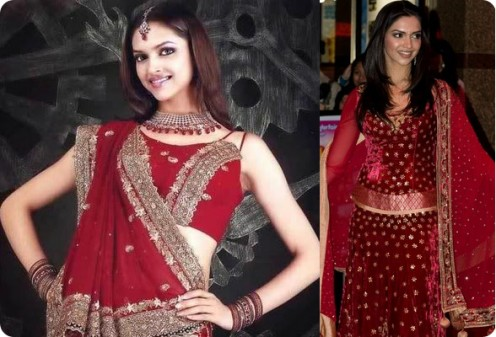 On the Right, Deepika in a gorgeous red velvet lahenga