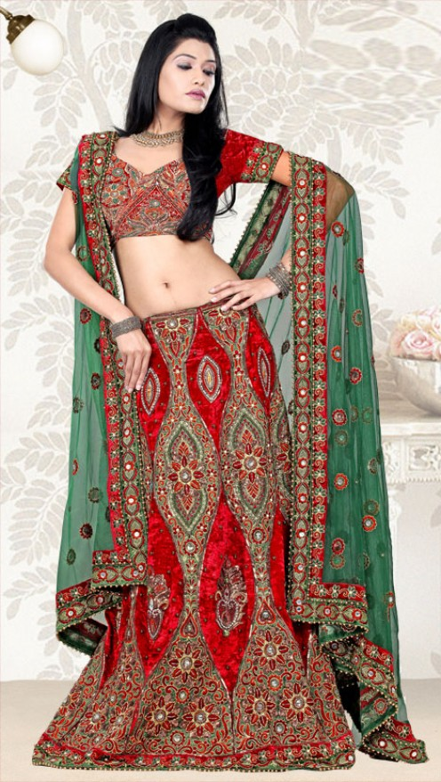 Red and Green is a dynamic combination for a bridal lahenga set