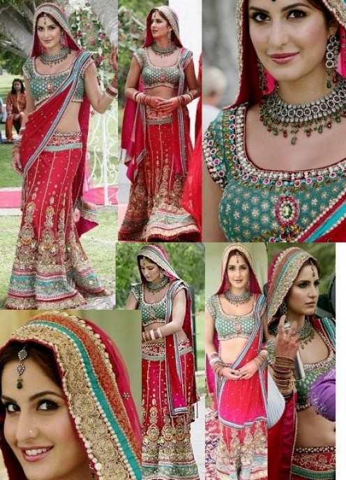 Katrina in Red and Green bridal lahenga