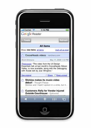 Google Reader for Mobile Phone