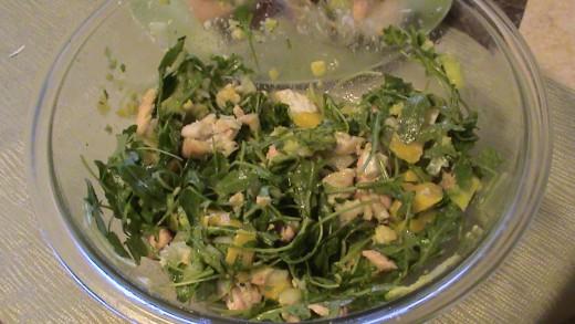 Arugula, Salmon, Avacodo, Mango, and chopped onion mixture for Won Ton Cups