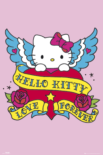 A traditional tattoo subject combines with Hello Kitty to create a unique tattoo design.