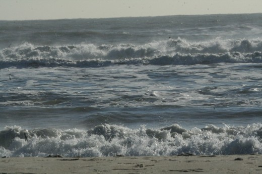 The Atlantic Ocean churns violently in this photo taken on Assateague Island, Virginia, U.S.A.