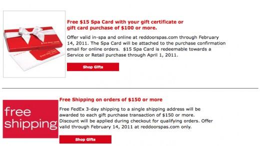 Red Door discounts current for 2011