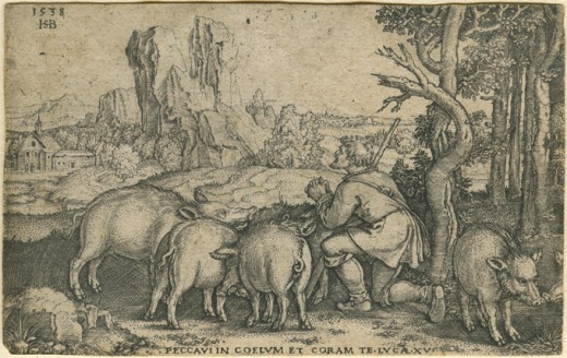 Beham, (Hans) Sebald (1500-1550): Der verlorene Sohn beim Schweinehten (The Prodigal Son tending the Swine). Kupferstich/engraving, datiert 1538. Blattgre 7,1 x 11,4 cm. (Plattenrnder beschnitten; minimaler Eckverlust links unten; drei winzige L
