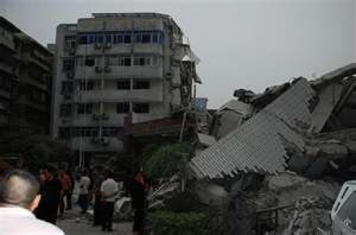 aftermath of a powerful earthquake