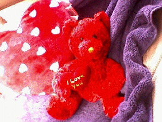 Heart Pillow and Bear With Heart. Cute!