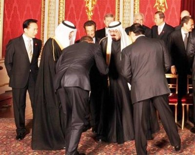 Our President  bends himself in half and takes this group off balance with a deep bow  to the Saudis. Why?