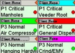 Shows different colors on the top bar of cells for work orders that are at different status points.