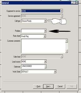 Window shown when creating a work order, the lines pointed to are important to fill out.