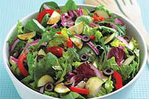 try simple salads with your favorite ingredients.  It's an easy way to get more vitamins and fiber in your diet.