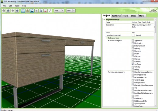 A desk mesh open in TSR Workshop.