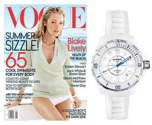 wearing  a CHANEL J12 White ceramic watch on the cover of Vogue is Blake Lively