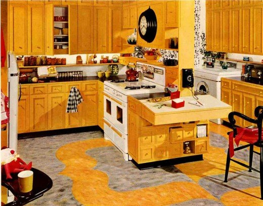 Decorating your kitchen in retro 39 50s rockabilly style decor for Kitchen cabinets 50 style