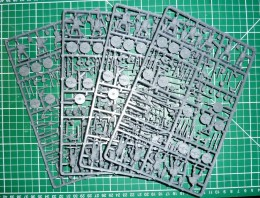 Miniatures on sprues, ready to be cut out and assembled.