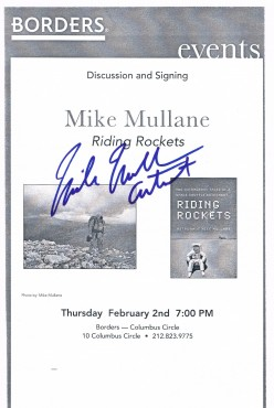 Former NASA astronaut and retired USAF officer Mike Mullane came to the Big Apple on February 2, 2006 to talk about his book, Riding Rockets.
