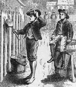 A scene from Tom Sawyer where he manipulates his friends to whitewash a fence for him.