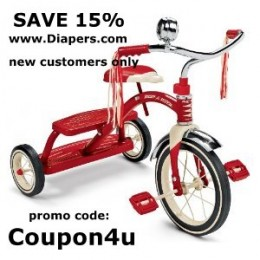 Use promo code: Coupon4u to save 15% off your Radio Flyer toy purchase from Diapers.com (new customers only)