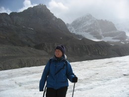 Marie-Belle hiking up on the icefield.