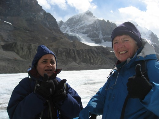 Reshma and Marie-Belle are happy to have hiked up on the icefield.