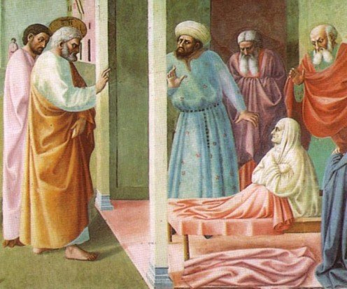 """Healing of the Cripple and Raising of Tabitha"" - by Masolino da Panicale (1425)"
