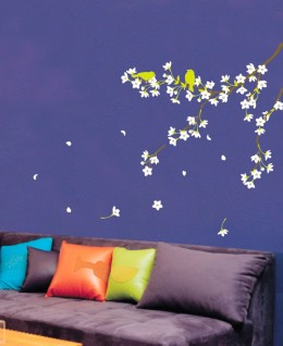 Another lounge room wall decal, also from amazon paired with an amazing paint job and multicoloured cushions.