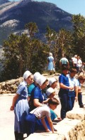 Tourists looking at scenery from one of the parking areas on Trail Ridge Road.
