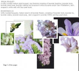 Bridal Bouquet Color Board. Photos of all the flower suggestions presented to the bride to help her visualize her bouquet.
