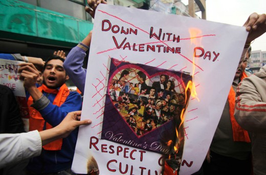 Hindu protests against the Western holiday of Valentine's Day.