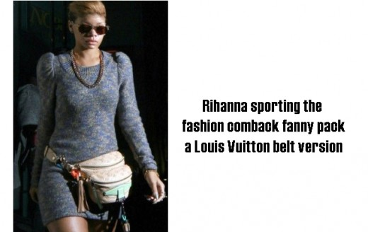 Fashion Week 2011 Rihanna sporting the comeback of the fanny pack in a