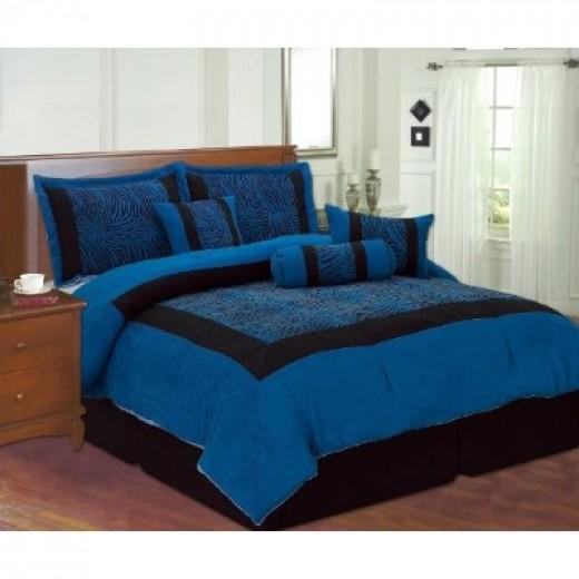 8pc blue black zebra faux silk flock printing comforter set bedding