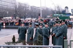 East German People's Police at the opening of the Brandenburg Gate, December 22, 1989