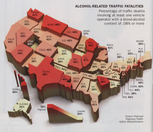 Heat Map Sample - This One Details Alcohol Related Deaths