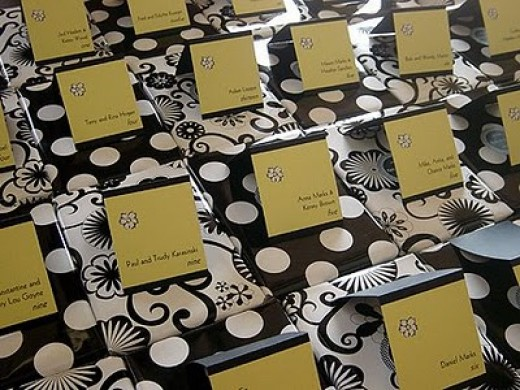 Polka Dot Wedding Seating Card Idea