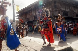 Locals donned in centurion outfits parade around town during the Moriones Festival in Marinduque.