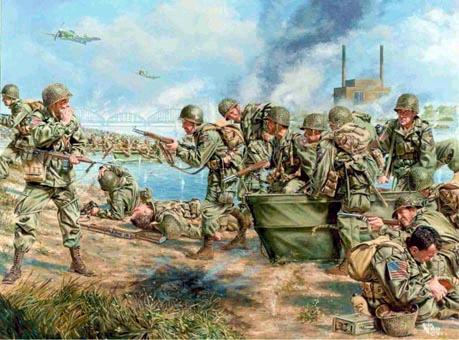 American troops crossing the River Waal in 1944