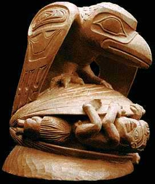 Raven calls the First Men out of the Clam Shell. This massive sculpture is in Vancouver's Museum of Anthropology