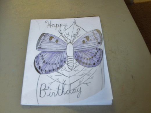 The wings of the butterfly were colored with a purple colored pencil.