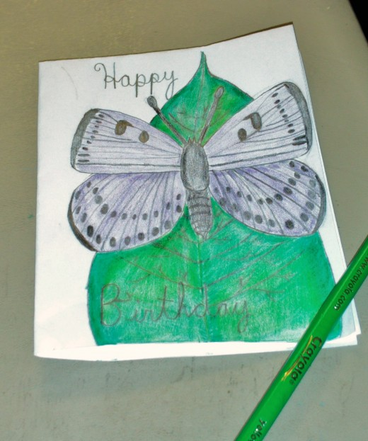 Here I colored in the leaf behind the butterfly.