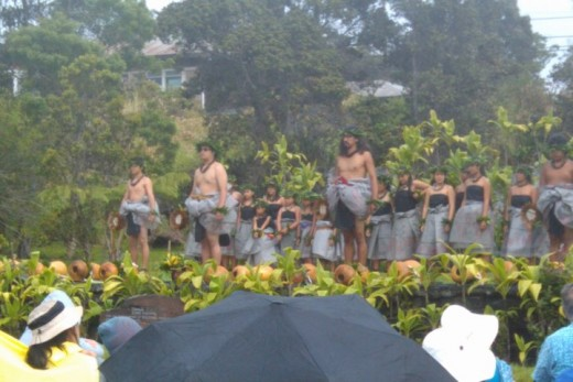 A Halau performs on the grounds of the Volcanoes National Park