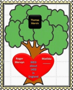 Family Tree: Roger Mervyn wed Matilda about 1452