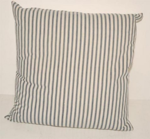 19th Century Blue Ticking Pillow