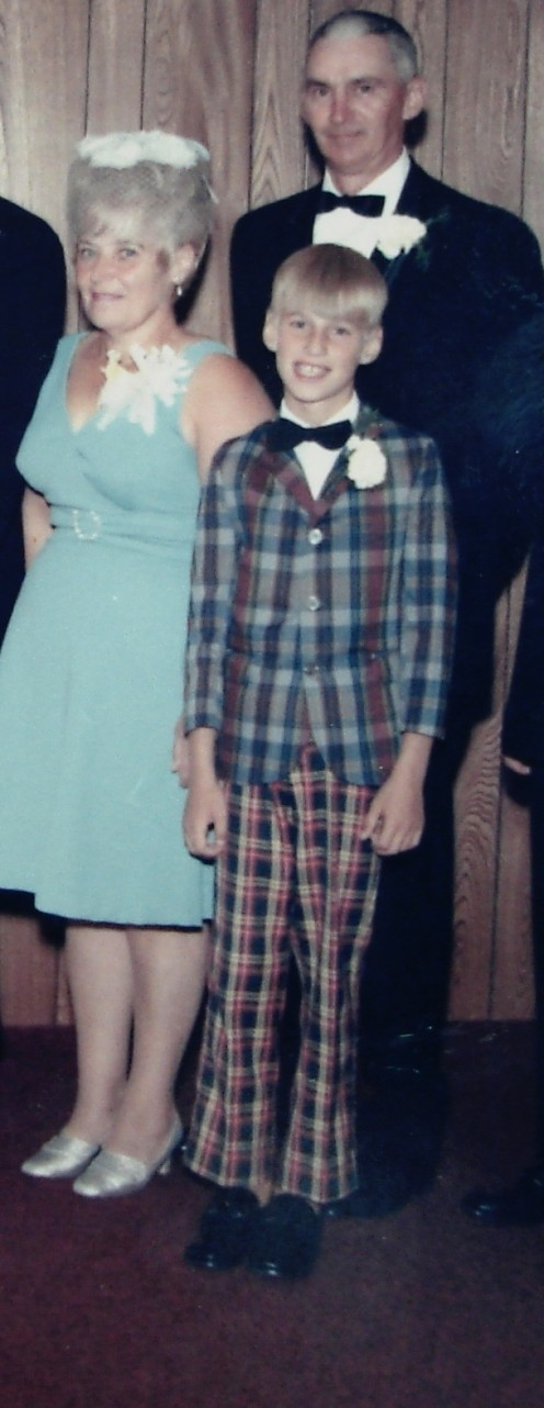 This photo was taken at a family wedding.  The people not wearing mismatched plaid are my mom and dad.