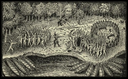 Defeat of the Iroquois by Champlain and Algonquians.