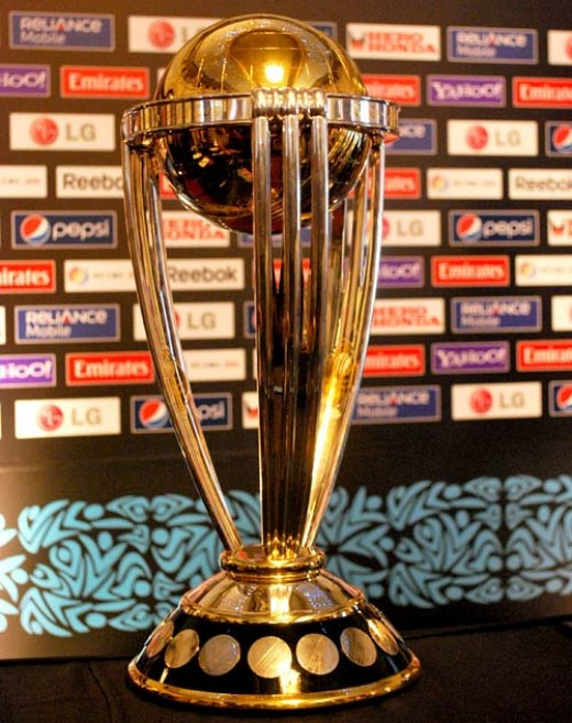 The ICC World Cup trophy is awarded to the winning team at the end of World