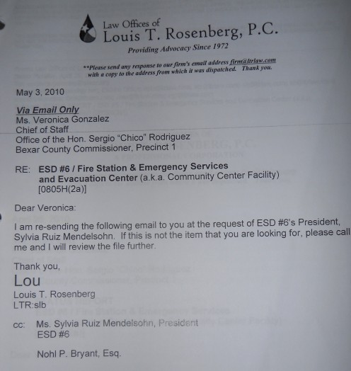 Email from Mr. Louis T. Rosenberg, ESD6 Attorney to Veronica Gonzales, the Chief of Staff for Commissioner Rodriguez.